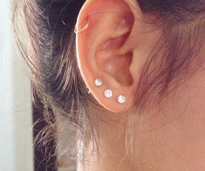 earrings, helix, and piercing image