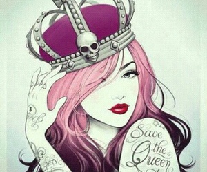 Queen, tattoo, and pink image