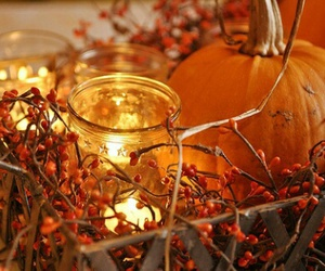 autumn, pumpkin, and candle image