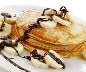 pancakes, banana, and chocolate image
