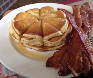 pancakes, bacon, and breakfast image