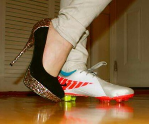 girl, soccer, and heels image