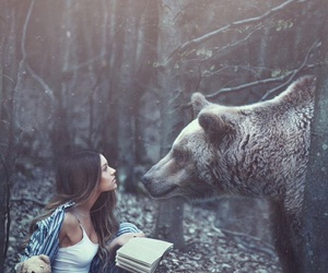 bear, girl, and forest image