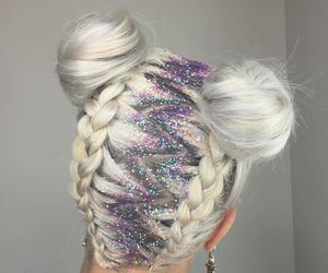 hair, glitter, and hairstyle image