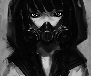 anime, girl, and gas mask image