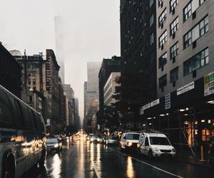city, rain, and lights image