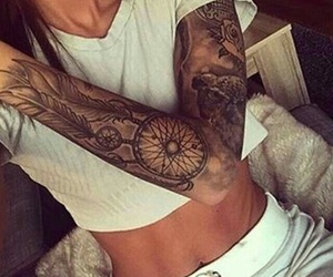 arm, tattoo, and dreamcatcher image