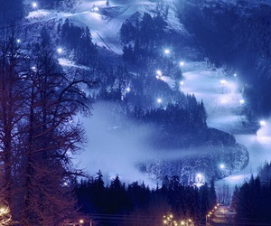 snow, light, and night image