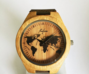 etsy, world map, and leather watch image