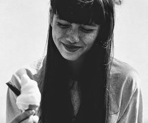 girl, black and white, and ice cream image