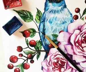 bird, blue, and cranberries image