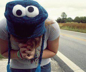 girl, cookie monster, and hat image