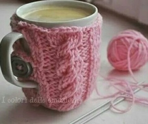pink, cup, and coffee image