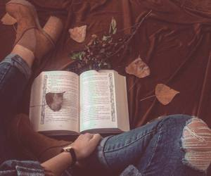 book, boots, and autumn leaves image