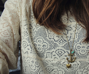 anchor, girl, and necklace image