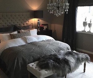 bed, grey, and master bedroom image