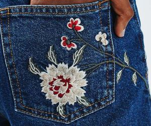 flowers, jeans, and fashion image