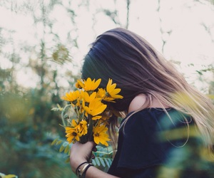 flowers, autumn, and girl image