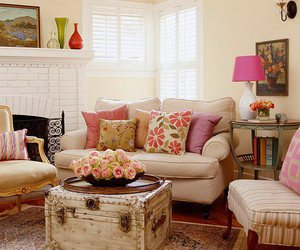 pink, decor, and living room image