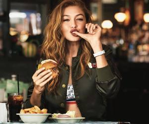 gigi hadid, model, and food image