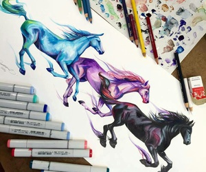 horse, draw, and art image