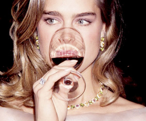 brooke shields, wine, and vintage image