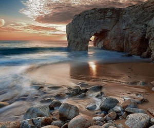 beach, nature, and rock image