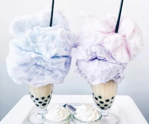 cotton candy, drink, and flowers image