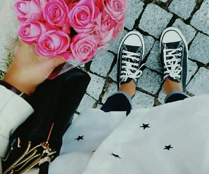 chuck taylor, sneakers, and black image