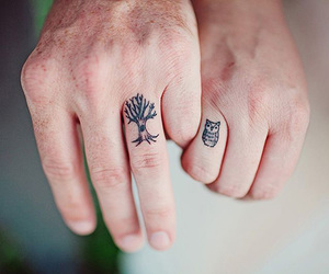tattoo, owl, and tree image