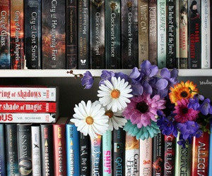 book, flowers, and bookshelf image