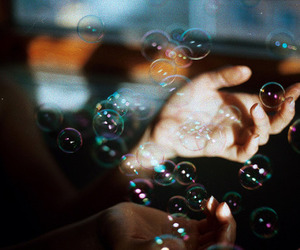 bubbles, hands, and vintage image