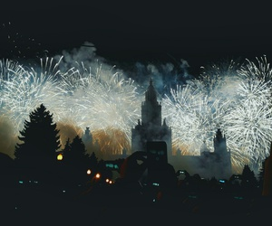 city, festival, and fireworks image