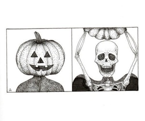 pumpkin, skeleton, and drawing image