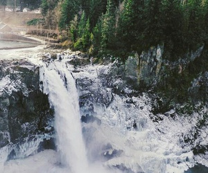background, trees, and waterfall image