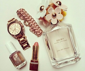 perfume, watch, and daisy image