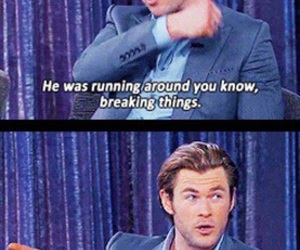 funny, thor, and chris hemsworth image