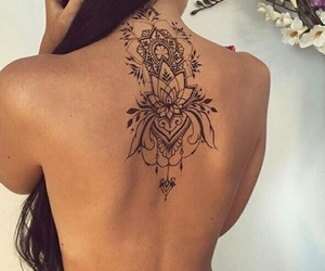 back tattoo, tattoo, and henna image