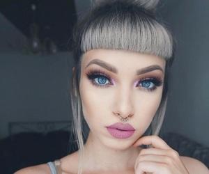 bangs, gray hair, and makeup image