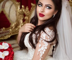 bride, makeup, and wedding image