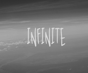text, infinite, and black and white image