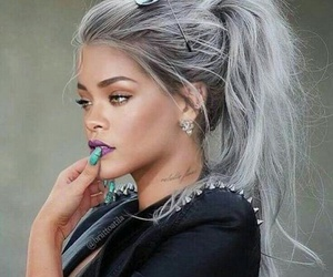 rihanna, hair, and grey image