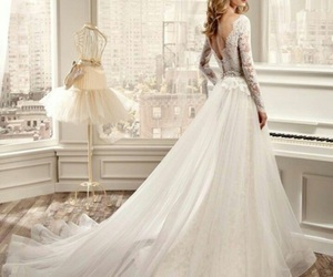 bride, long sleeve, and dress image