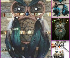 owl craft, jewelry pendant, and owl dream catcher image