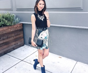 skirt, statement necklace, and ootd image