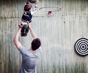 baby, Basketball, and dad image