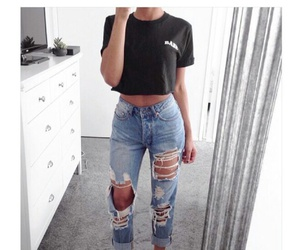 black top, girly, and jeans image