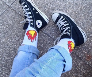 all star, black, and flames image