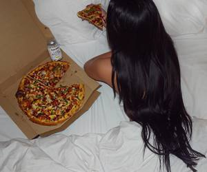 bed, hair, and pizza image
