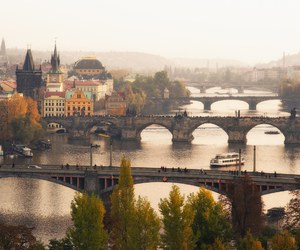 prague, city, and bridge image